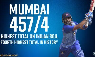 Vijay Hazare Trophy 2020/21: Mumbai post highest List A score on Indian soil