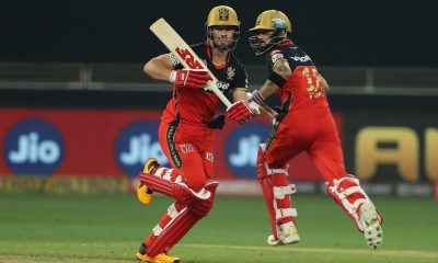 Abu Dhabi: AB de Villiers of Royal Challengers Bangalore and Virat Kohli captain of Royal Challengers Bangalore during match 3 of season 13 of the Dream 11 Indian Premier League (IPL) between Sunrisers Hyderabad and Royal Challengers Bangalore held at the Dubai International Cricket Stadium, Dubai in the United Arab Emirates on the 21st September 2020. (Photo: BCCI/IPL)
