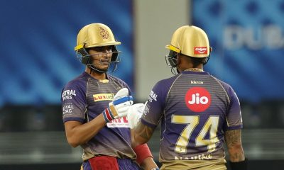 Dubai: Sunil Narine and Shubman Gill of Kolkata Knight Riders during match 12 of season 13 of the Dream 11 Indian Premier League (IPL) between Rajasthan Royals (RR) and Kolkata Knight Riders (KKR) held at the Dubai International Cricket Stadium, Dubai in the United Arab Emirates on the 30th September 2020. (Photo: BCCI/IPL)