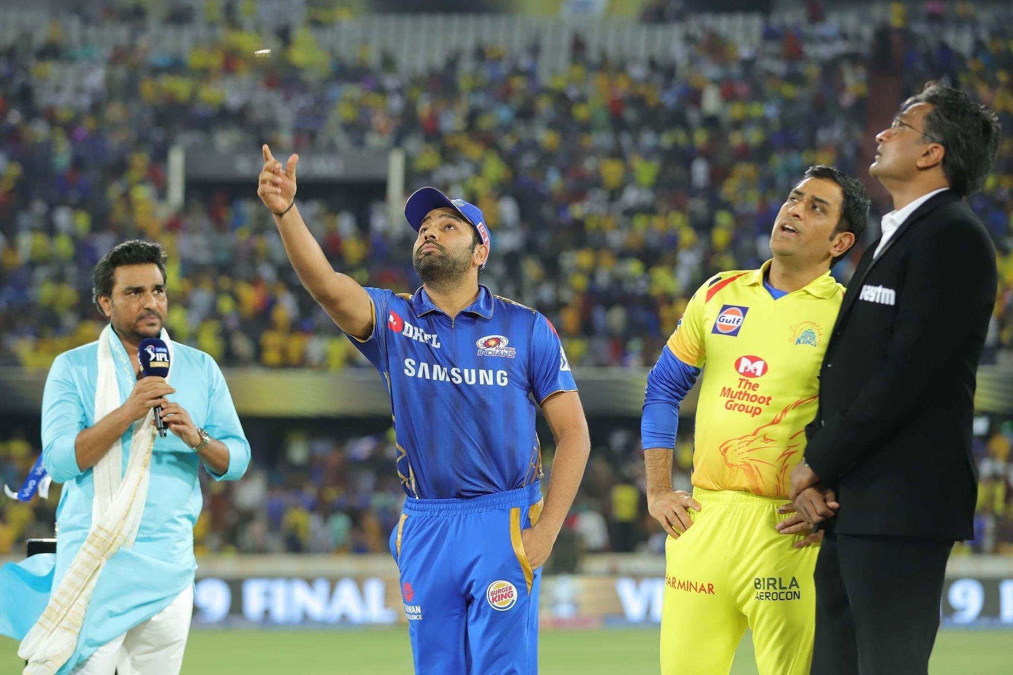 Mumbai Indians captain Rohit Sharma and Chennai Super Kings captain MS Dhoni during the toss ahead of the IPL 2019 final match between the two teams. (File Image/Photo Courtesy: BCCI)