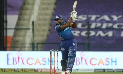 Abu Dhabi: Kieron Pollard of Mumbai Indians plays a shot during match 13 of season 13 of the Indian Premier League (IPL) between the Kings XI Punjab and the Mumbai Indians at the Sheikh Zayed Stadium, Abu Dhabi in the United Arab Emirates on the 1st October 2020. (Photo: BCCI/IPL)