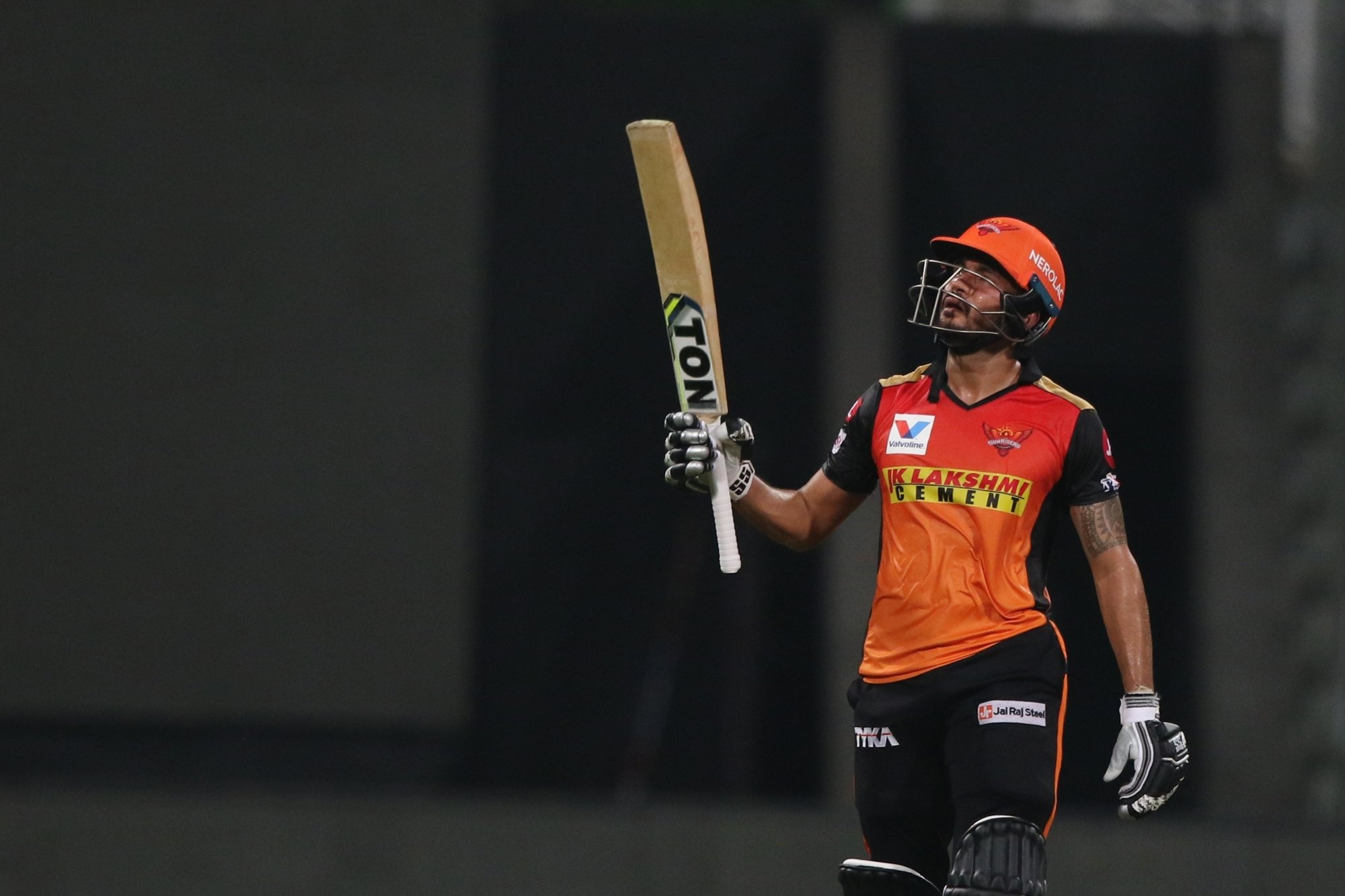 Abu Dhabi: Manish Pandey of Sunrisers Hyderabad raises his bat after scoring a fifty during match 8 of season 13 of Indian Premier League (IPL) between the Kolkata Knight Riders and the Sunrisers Hyderabad held at the Sheikh Zayed Stadium, Abu Dhabi in the United Arab Emirates on the 26th September 2020. (Photo: BCCI/IPL)
